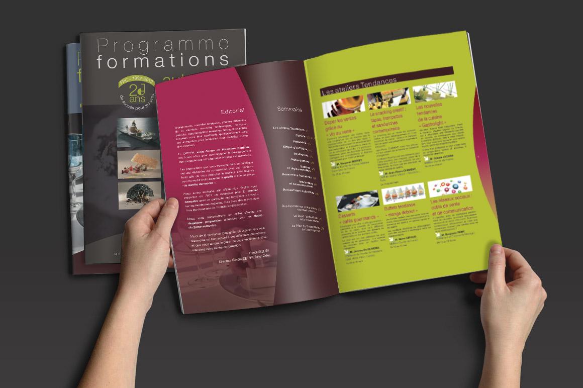 de nombreuses réalisations imprimés pour le CEFPPA : affiche, carton d'invitation, fiche formation, programme de formation