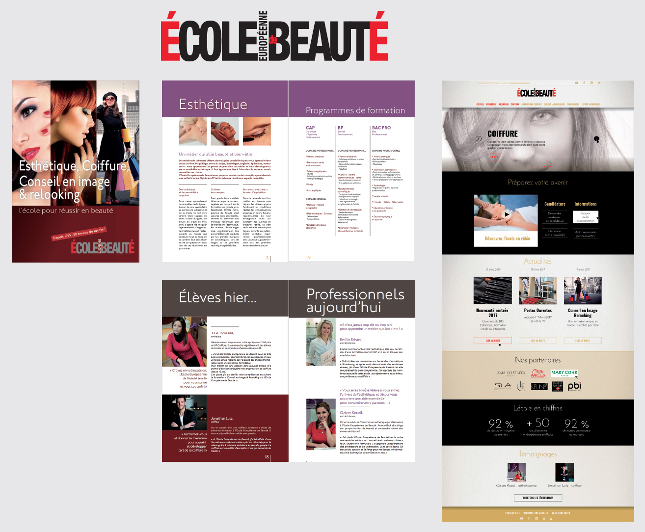 de nombreuses réalisations imprimés pour l'École Européenne de Beauté