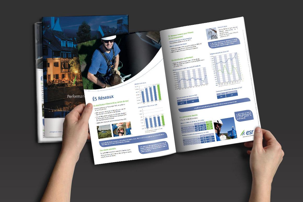Réalisations d'imprimés pour Électricité de Strasbourg : affiches, guide d'utilisation, chiffres clés