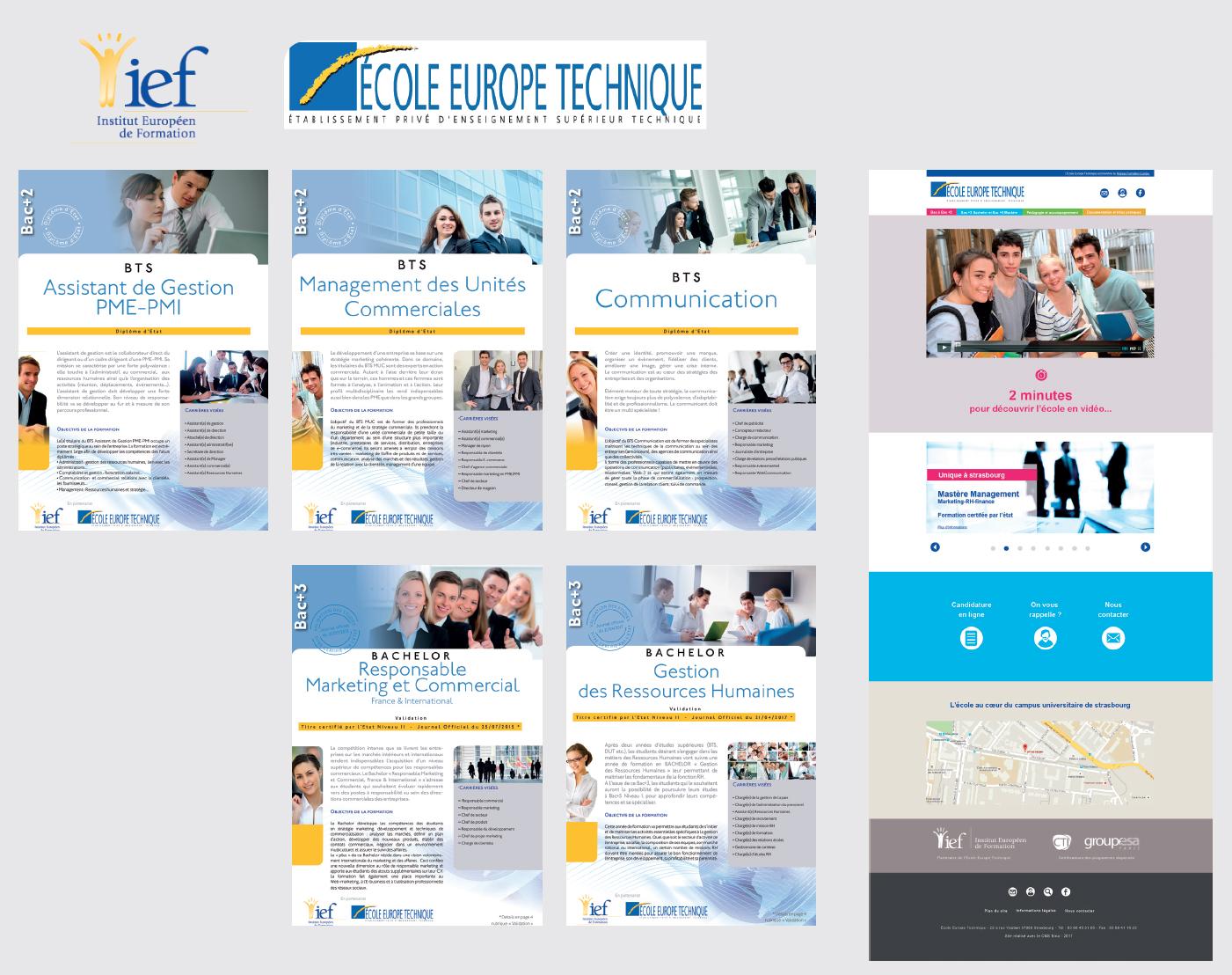 Réalisations print pour l'Institut Européen de Formation et École Europe Technique