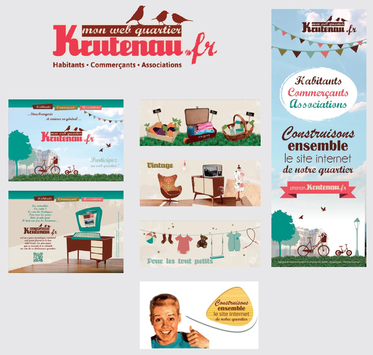 Réalisations print et web pour le quartier de la krutenau