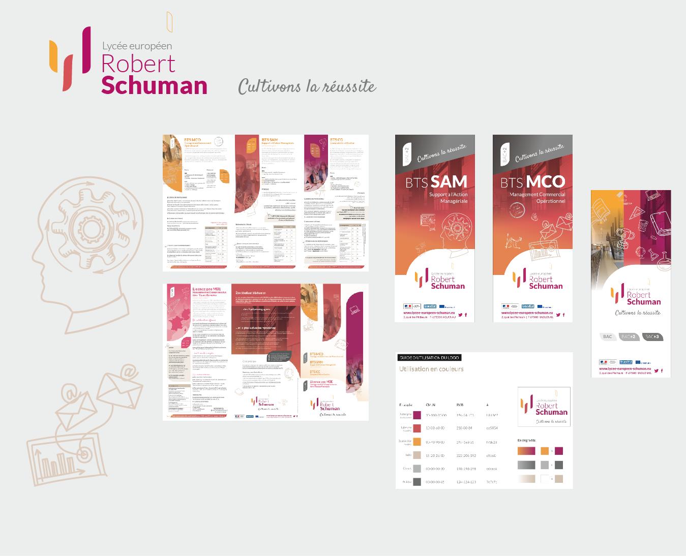 de nombreuses réalisations imprimées pour le Lycée Européen Robert Schuman : refonte du logotype, charte graphique, plaquette et programme de formation
