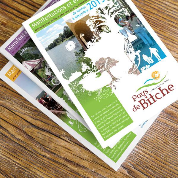de nombreuses réalisations imprimés pour l'Office de tourisme intercommunal du Pays de Bitche