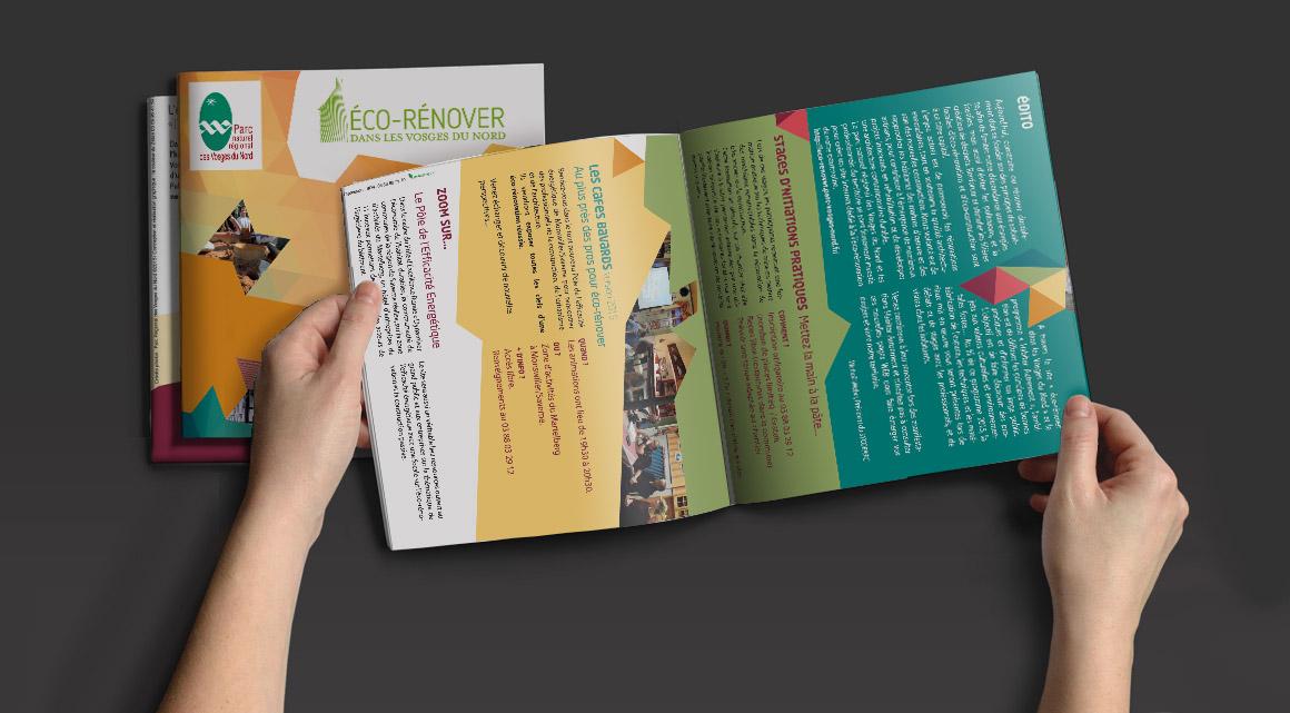 de nombreuses réalisations imprimés pour le Parc Naturel Régional des Vosges du Nord : affiche, carton d'invitation, programme d'eco-rénovation