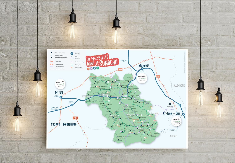 Affiche et carte de la mobilité du Sundgau
