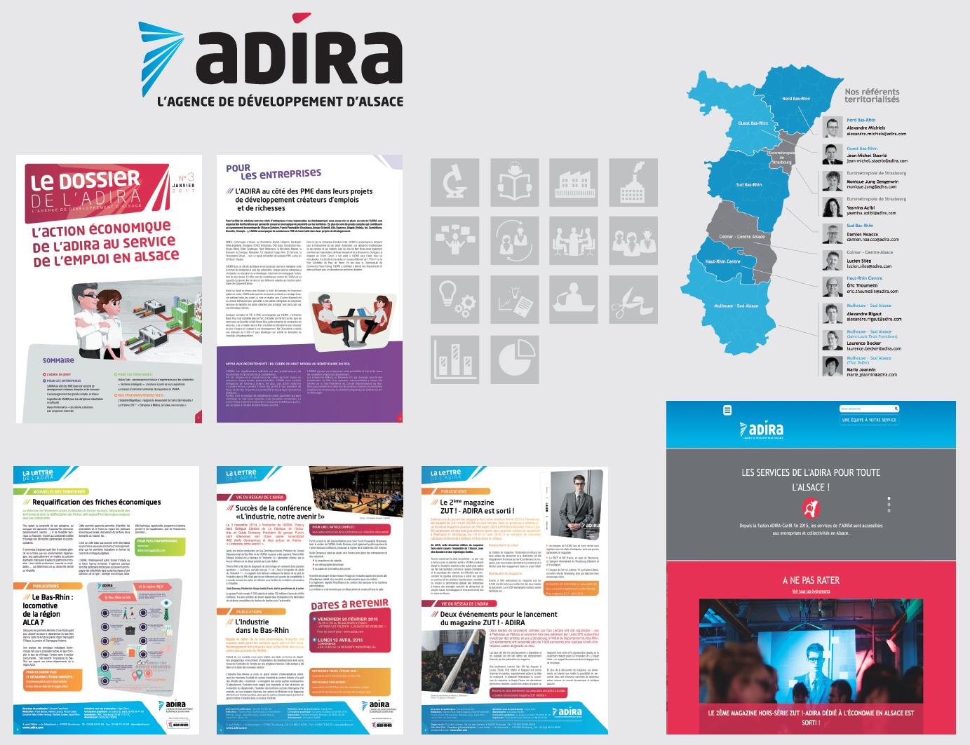 de nombreuses réalisations imprimés pour l'ADIRA : Newsletter, lettre d'information, publication de dossiers thématiques...