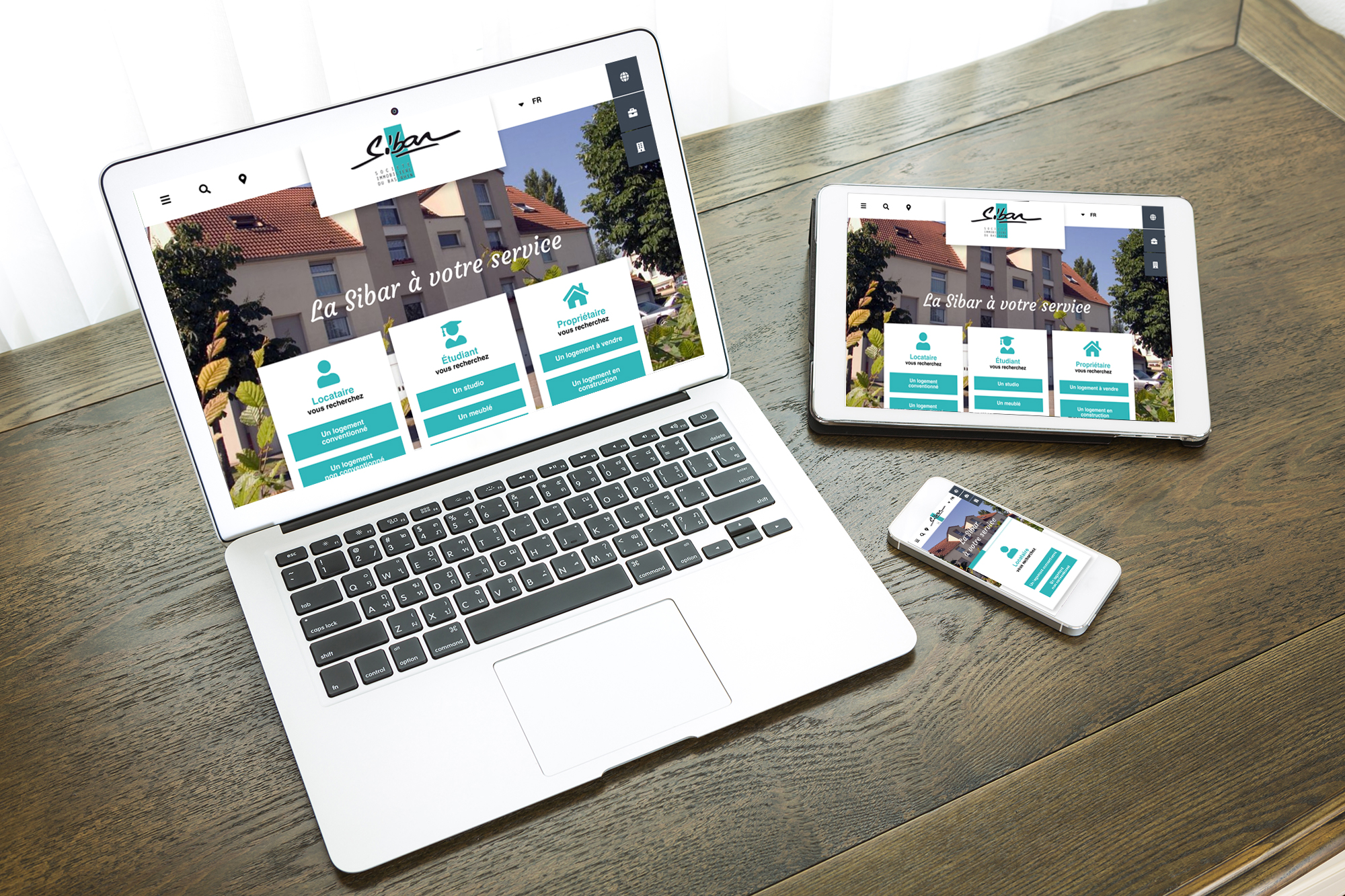 Maquette interface site web SIBAR