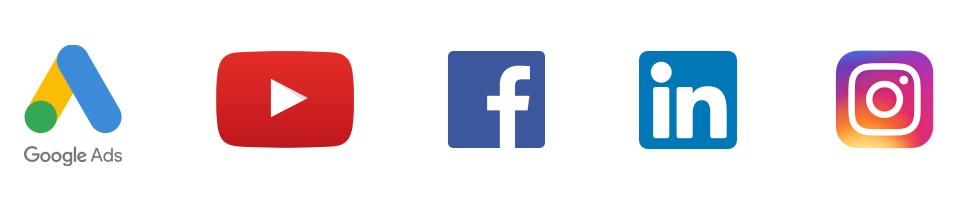 logos google ads, youtube, facebook, instagram, linkedin