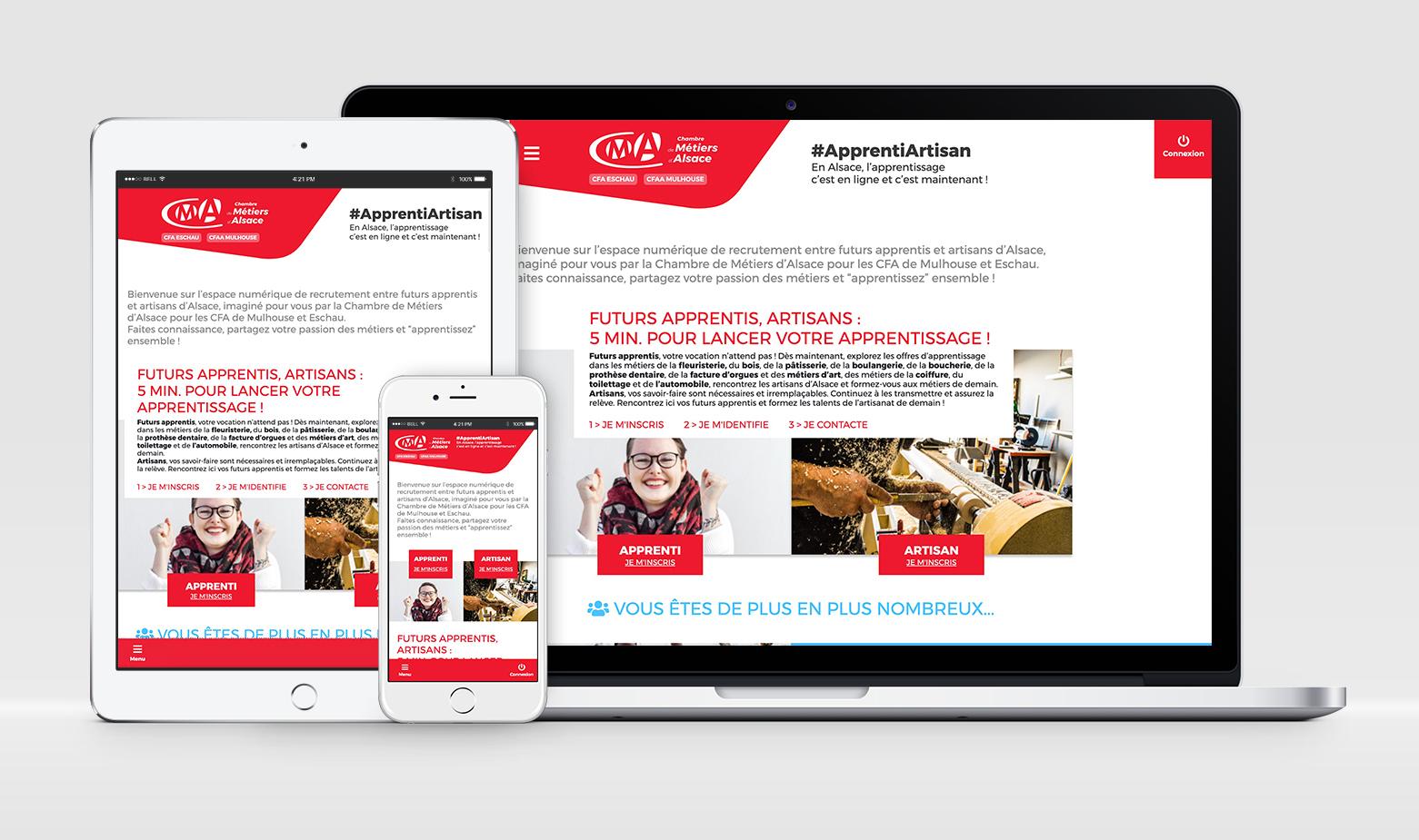Plateforme de recrutement développée pour la CMA afin de mettre en relation artisans et futurs apprentis