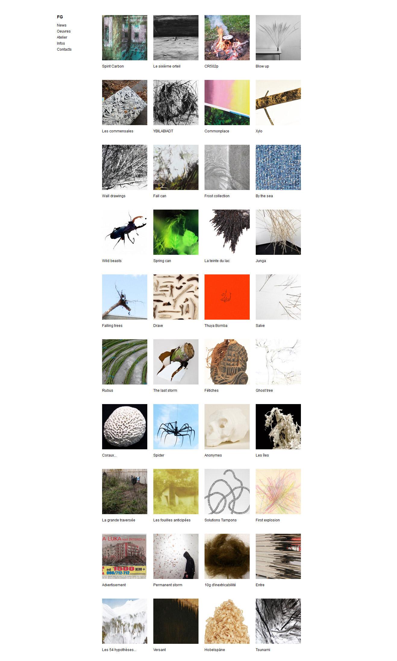 Exemple de page : Liste des oeuvres