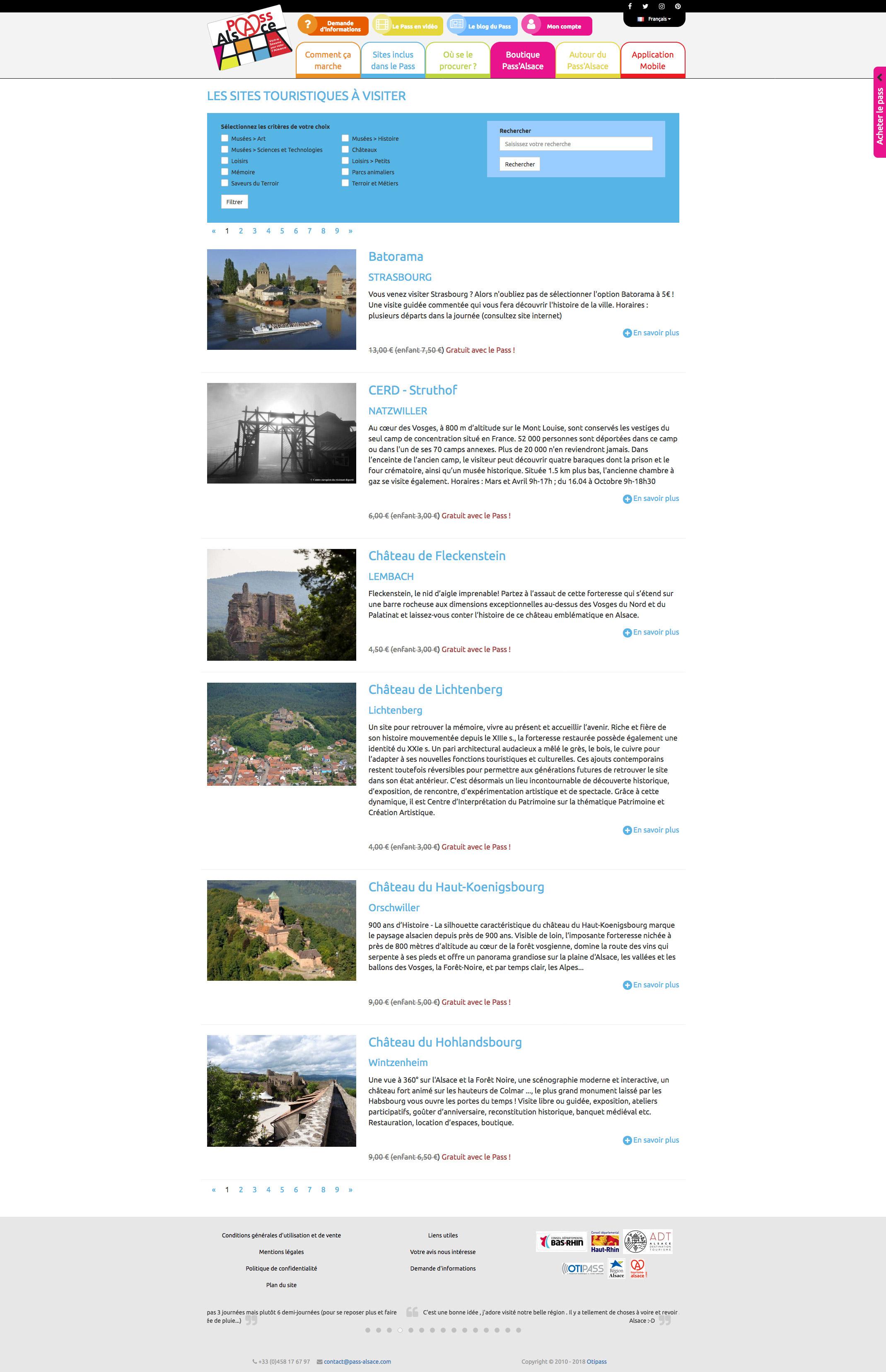 Liste des sites à visiter avec filtres et champ de recherche