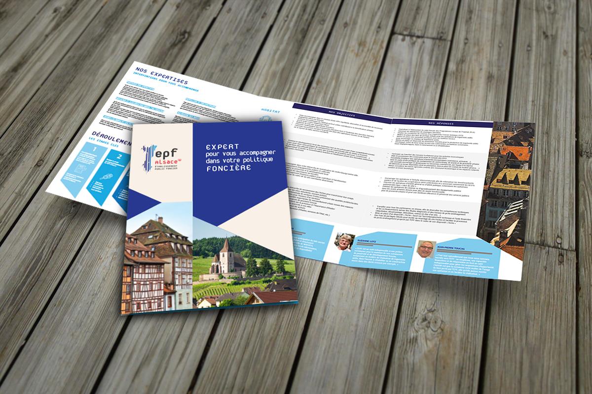 Plaquette 3 volets pour l'Établissement Public Foncier d'Alsace