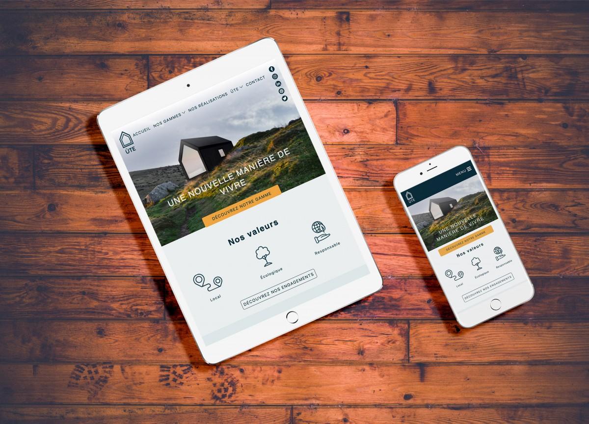 Ute site web sur tablette et téléphone
